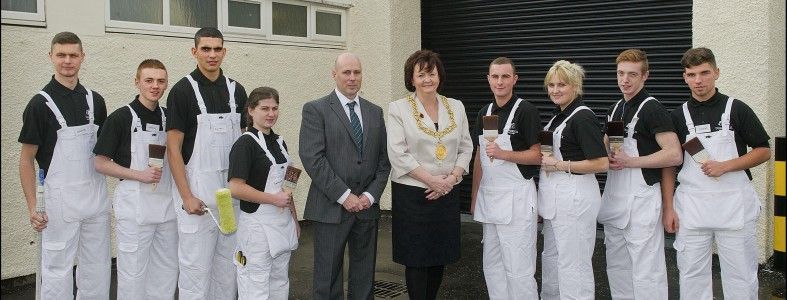Glasgow's Lord Provost Sadie Docherty with MD Mark Johnston and some of the company's apprentices.